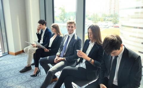 Candidates preparing for a job interview